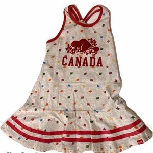 Roots Girls 4T dress Canada leaf gray multicolour
